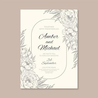 Minimalistyczne zaproszenie na ślub z narysowanymi elementami