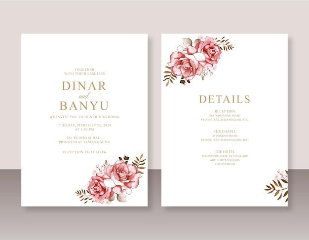Minimalistyczne zaproszenie na ślub z różaną akwarelą