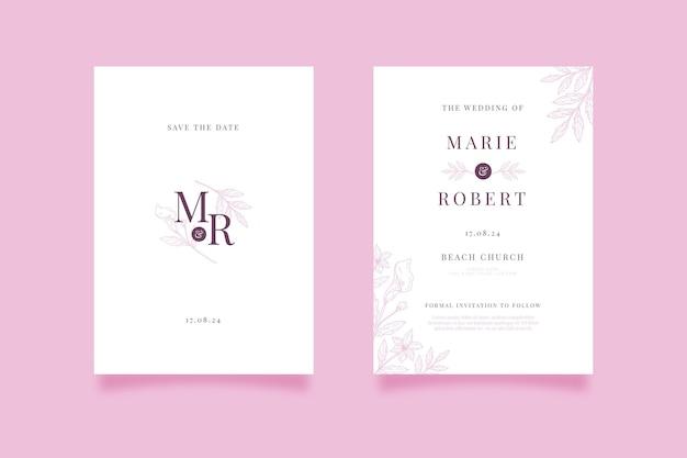 Minimalistyczne zaproszenie na ślub