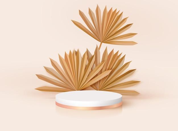 Minimalistyczny 3d realistyczny okrągły cokół z tropikalnymi liśćmi. nowoczesna makieta stoiska z nominacją, projekt renderowania sceny palm. wektorowa platforma podium dla produktu kosmetycznego, sceny pokazowej w studio mody