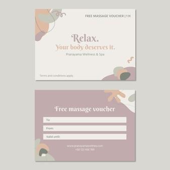 Minimalistyczny abstrakcyjny bon upominkowy na masaż wellness