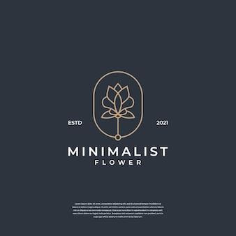 Minimalistyczny Abstrakcyjny Kwiat Z Inspiracją Do Projektowania Logo Linii Premium Wektorów
