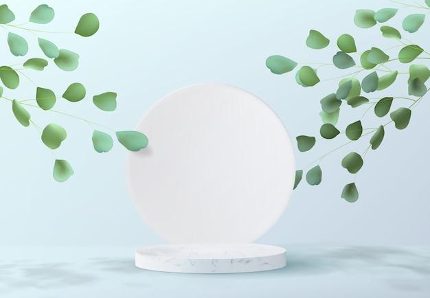 Minimalistyczny abstrakcyjny wzór tła z marmurowym postumentem. realistyczny obraz pustego cylindrycznego podium do prezentacji produktu z dekoracjami z liści drzew.