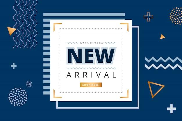 Minimalistyczny baner new arrival z geometrycznymi kształtami
