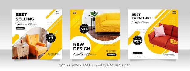 Minimalistyczny Baner Sprzedaży Mebli Lub Szablon Postu W Mediach Społecznościowych Premium Wektorów