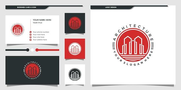 Minimalistyczny budynek projekt logo nieruchomości inspiracja i projekt wizytówki premium wektorów