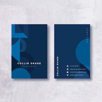 Minimalistyczny ciemny niebieski wizytówki szablon