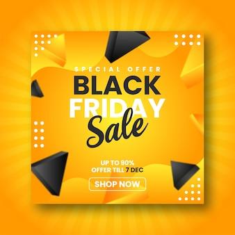 Minimalistyczny czarny piątek sprzedaż w mediach społecznościowych szablon transparent postu