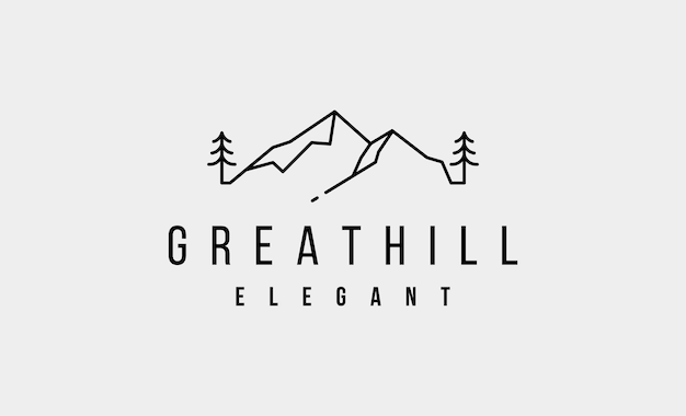 Minimalistyczny design mountain logo hill