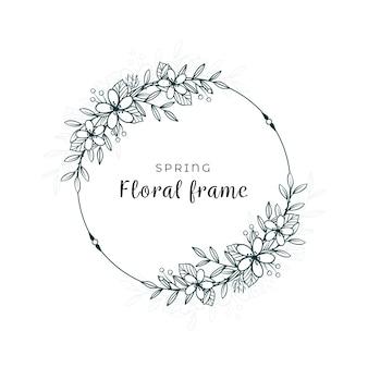 Minimalistyczny design wiosennych liści i kwiatów
