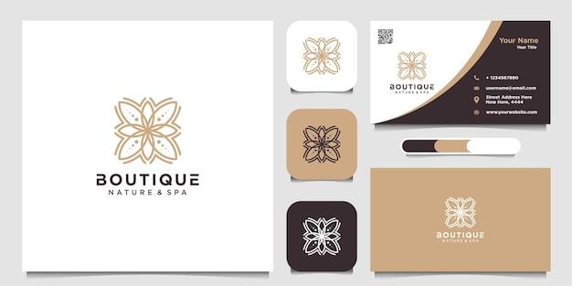 Minimalistyczny elegancki kwiat jaśminu do kosmetyków kosmetycznych logo jogi i spa oraz wizytówki