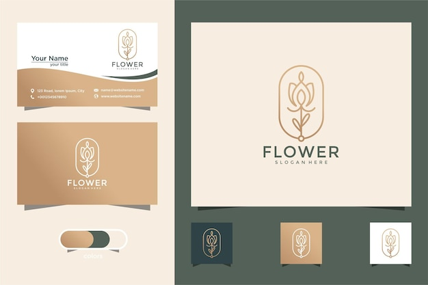 Minimalistyczny elegancki kwiat luksusowy kosmetyk do pielęgnacji skóry twarzy z wizytówką