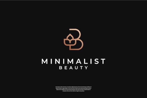 Minimalistyczny Elegancki Początkowy Projekt Logo B I Liścia W Stylu Grafiki Liniowej Premium Wektorów