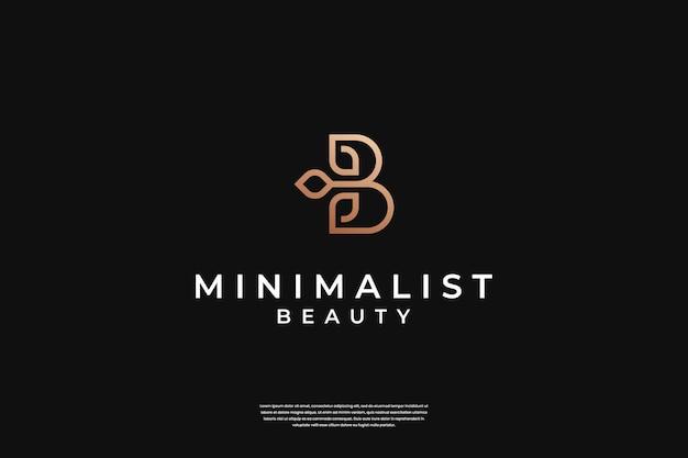 Minimalistyczny elegancki początkowy projekt logo b i liścia