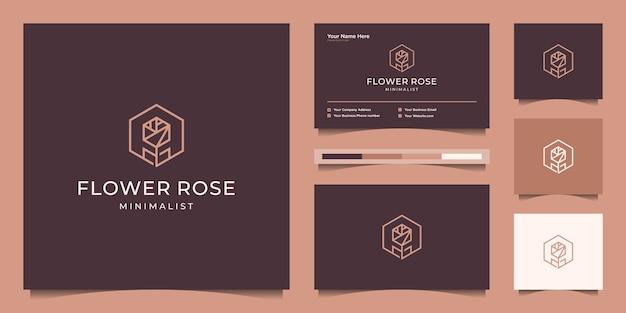 Minimalistyczny elegancki styl grafiki linii kwiat róży. luksusowy salon kosmetyczny, moda, produkty do pielęgnacji skóry, kosmetyki, joga i produkty spa. projekt logo i wizytówki