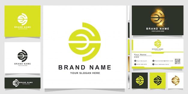 Minimalistyczny elegancki szablon logo monogram litera c z projektem wizytówki