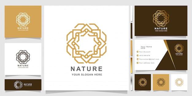 Minimalistyczny elegancki szablon logo natura ornament z projektem wizytówki