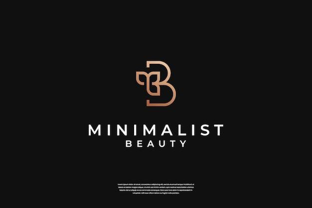 Minimalistyczny elegancki wstępny szablon projektu logo b i liści