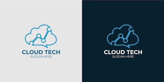 Minimalistyczny elegancki zestaw logo technologii chmury