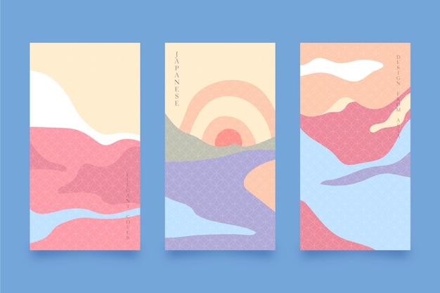 Minimalistyczny japoński projekt kolekcji okładek