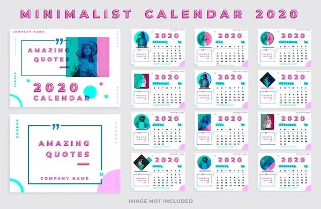 Minimalistyczny kalendarz 2020 krajobraz ze zdjęciem i cytatami