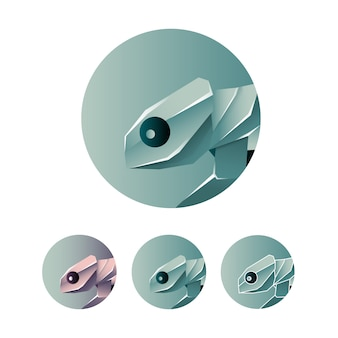 Minimalistyczny kameleon streszczenie ikona logo