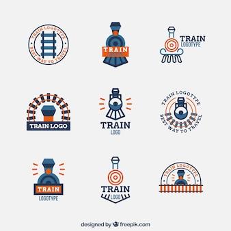 Minimalistyczny kolekcja logo pociągu