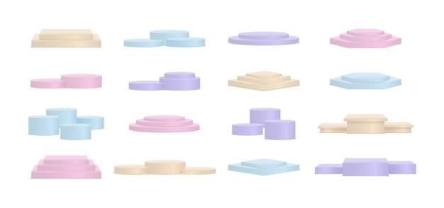 Minimalistyczny kolor podium z geometrycznymi formami. scena do pokazania produktu, gabloty, witryny sklepowej, gabloty. tło baneru do reklamy produktu. scena do nagród na stronie w nowoczesnym stylu. wektor.