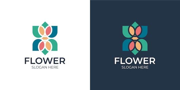 Minimalistyczny kolorowy kwiatowy zestaw logo