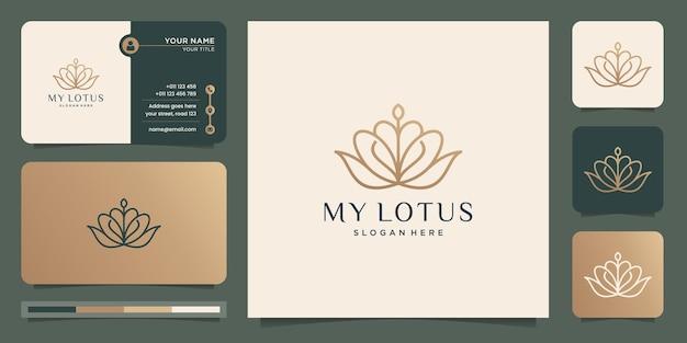 Minimalistyczny kwiat lotosu. luksusowe piękno, grafika liniowa, moda, kosmetyki. projektowanie logo i wizytówek.