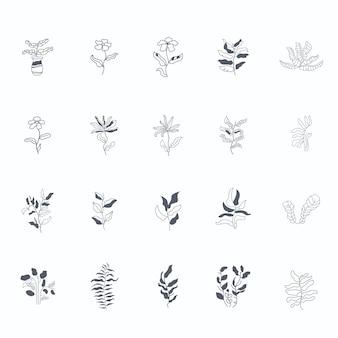 Minimalistyczny kwiat szkic graficzny ilustracja rysunek