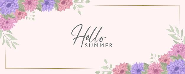 Minimalistyczny kwiatowy baner z letnim motywem