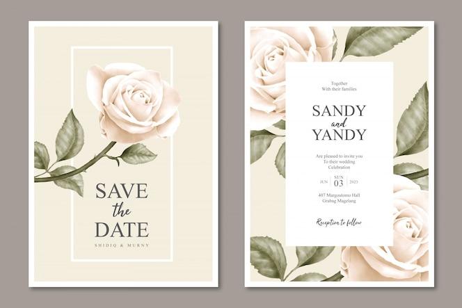 Minimalistyczny kwiatowy szablon karty ślub