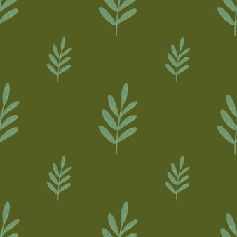 Minimalistyczny kwiatowy wzór z jasnoniebieskimi liśćmi gałęzi ornamentem. zielone tło. płaski nadruk wektorowy na tekstylia, tkaniny, opakowania na prezenty, tapety. niekończąca się ilustracja.