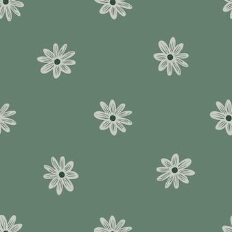 Minimalistyczny kwiatowy wzór z ozdobnymi wyprofilowanymi kwiatami stokrotki. zielone tło. projekt graficzny do owijania tekstur papieru i tkanin. ilustracja wektorowa.