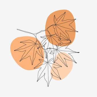 Minimalistyczny liść klonu w stylu sztuki linii