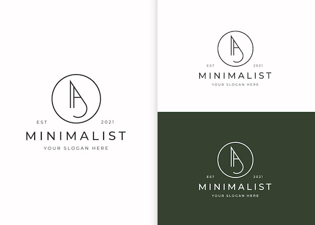 Minimalistyczny list logo z szablonem projektu w kształcie koła