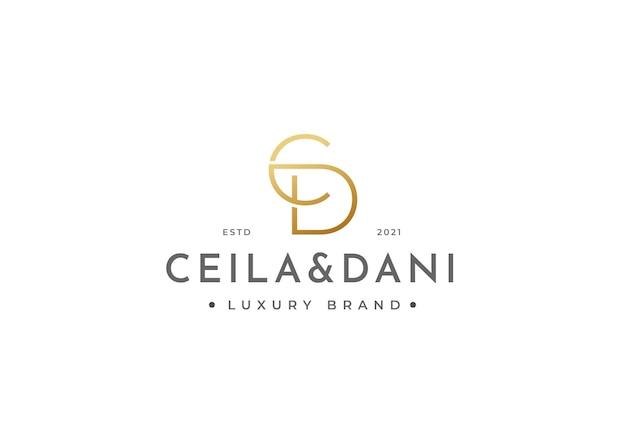 Minimalistyczny luksusowy list cd szablon projektu logo