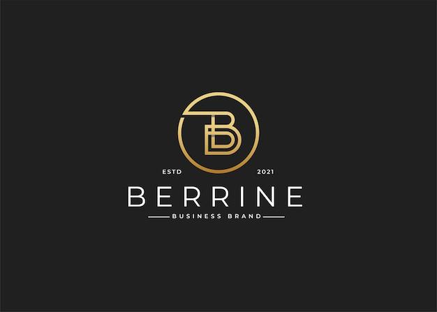 Minimalistyczny luksusowy projekt logo litery b w kształcie koła