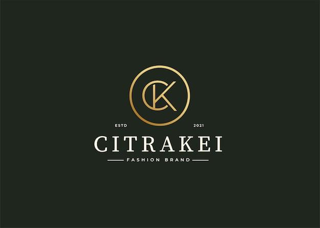 Minimalistyczny luksusowy projekt logo litery ck w kształcie koła