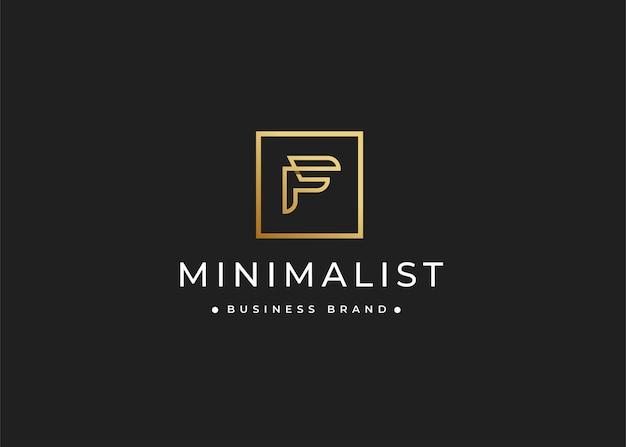 Minimalistyczny luksusowy projekt logo litery f o kwadratowym kształcie