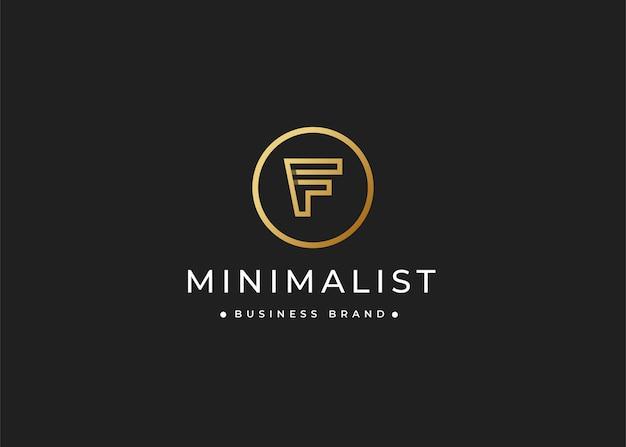Minimalistyczny luksusowy projekt logo litery f w kształcie koła