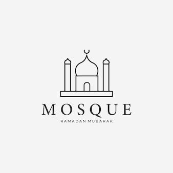 Minimalistyczny meczet muzułmański linia art logo, ilustracja wektora projektu ramadan kareem mubarak concept