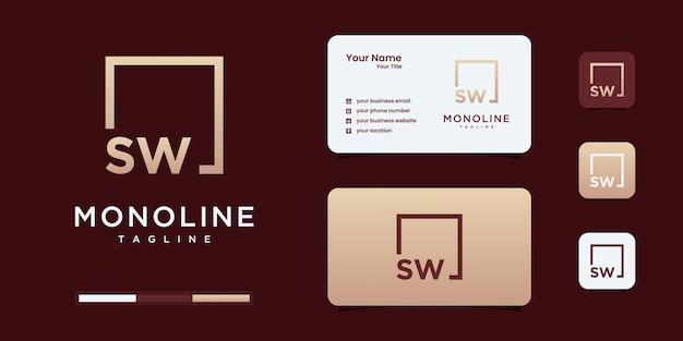 Minimalistyczny monogram logo s i w lub sw, alfabet, litera, wstępna inspiracja projektowa