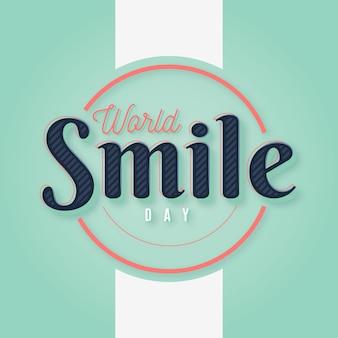 Minimalistyczny napis na światowy dzień uśmiechu