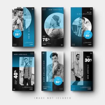 Minimalistyczny niebieski czarny social media instagram stories banner collection