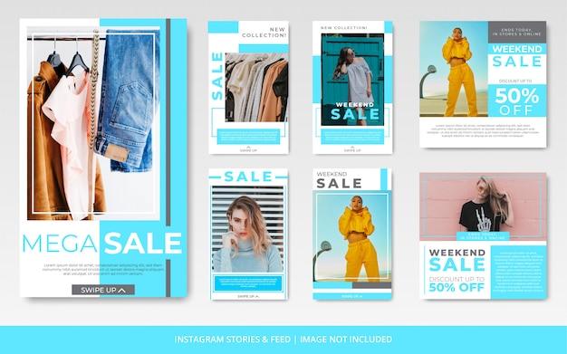 Minimalistyczny niebieski instagram kanał i historie moda sprzedaż szablon transparent