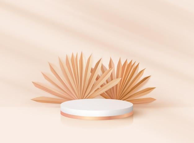 Minimalistyczny nowoczesny 3d realistyczny okrągły cokół z tropikalnymi liśćmi. makieta stoiska z nagrodami nominacji, projekt renderowania sceny palm. wektorowa platforma podium dla produktu kosmetycznego, sceny pokazowej w studio mody