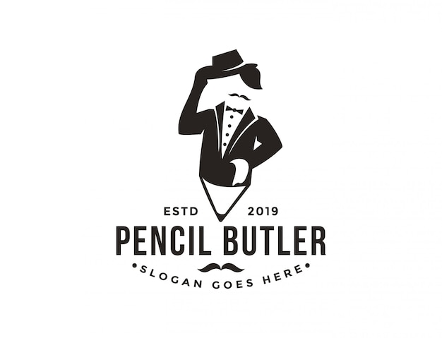 Minimalistyczny nowoczesny vintage hipster logo lokaja i ołówka