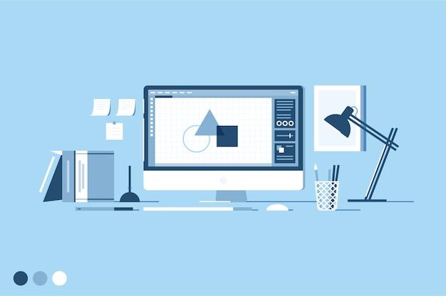 Minimalistyczny obszar roboczy projektanta